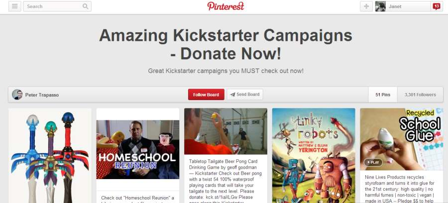 Pinterest board to promote Kickstarter campaigns