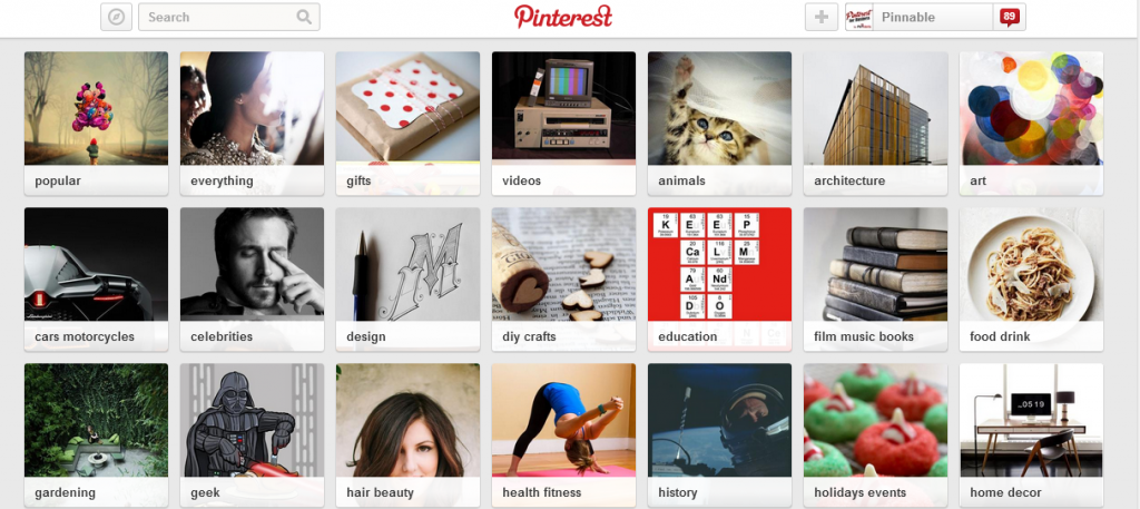 Gift category on Pinterest