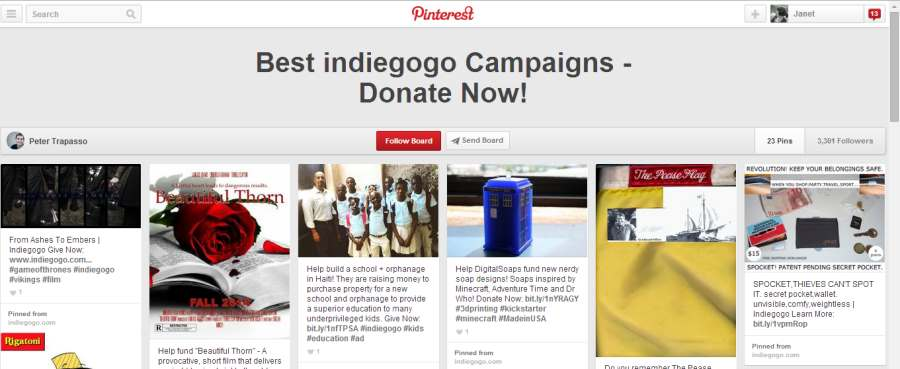 Indigogo Pinterest board