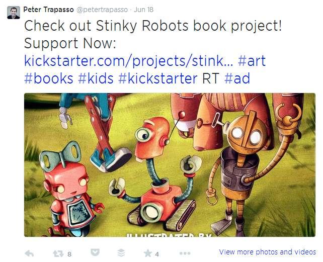 Kickstarter campaign tweet